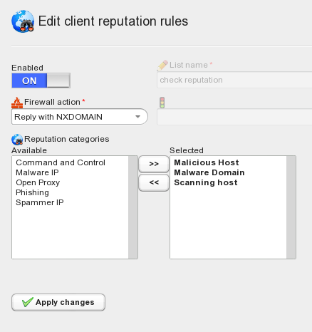 Client reputation can be checked and enforced by engaging specific firewall actions