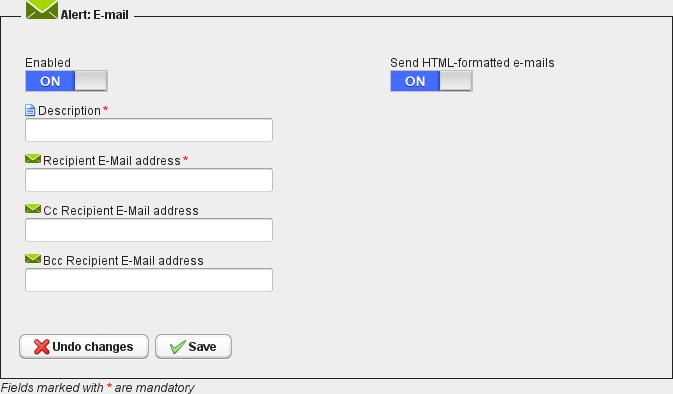 Realtime alerts - E-mail alert configuration dashboard